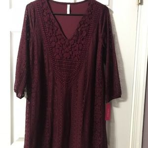 Berry colored mid length dress NWT